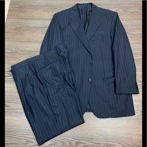 Kiton Navy w/ Blue Pinstripe Super 180s Suit 44L
